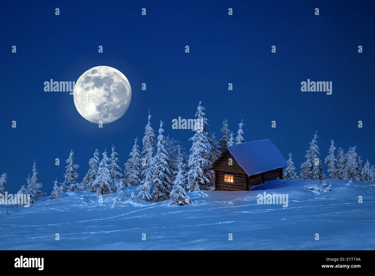 wooden house in winter forest - Stock Image