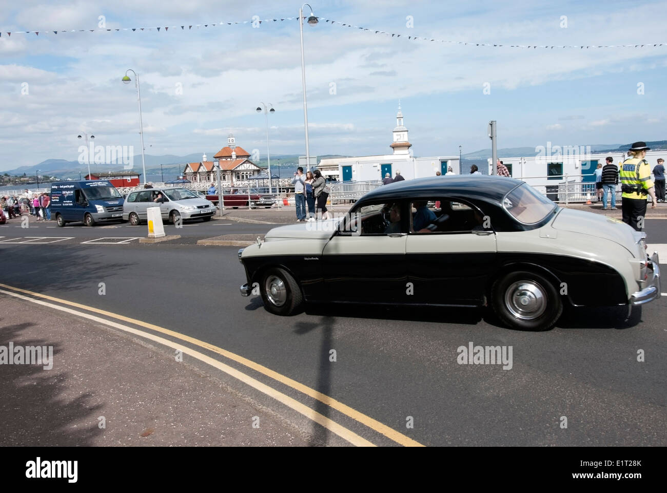 1959 Two tone Black and Grey Riley Two point six 2.6 Overdrive Classic British Saloon Car - Stock Image