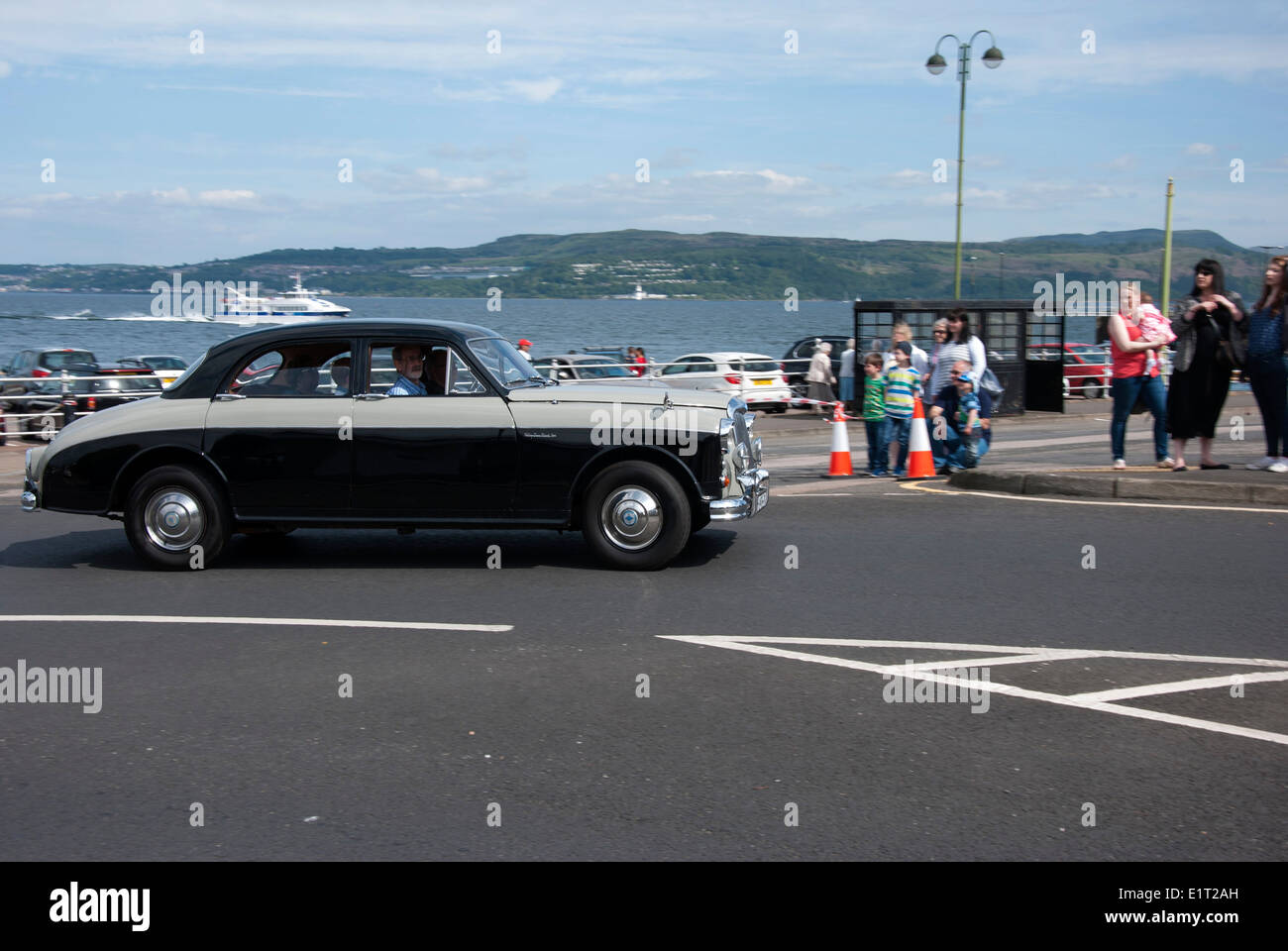 1959 Two tone Black and Gray Riley Two point six 2.6 Overdrive Classic British Saloon Car - Stock Image