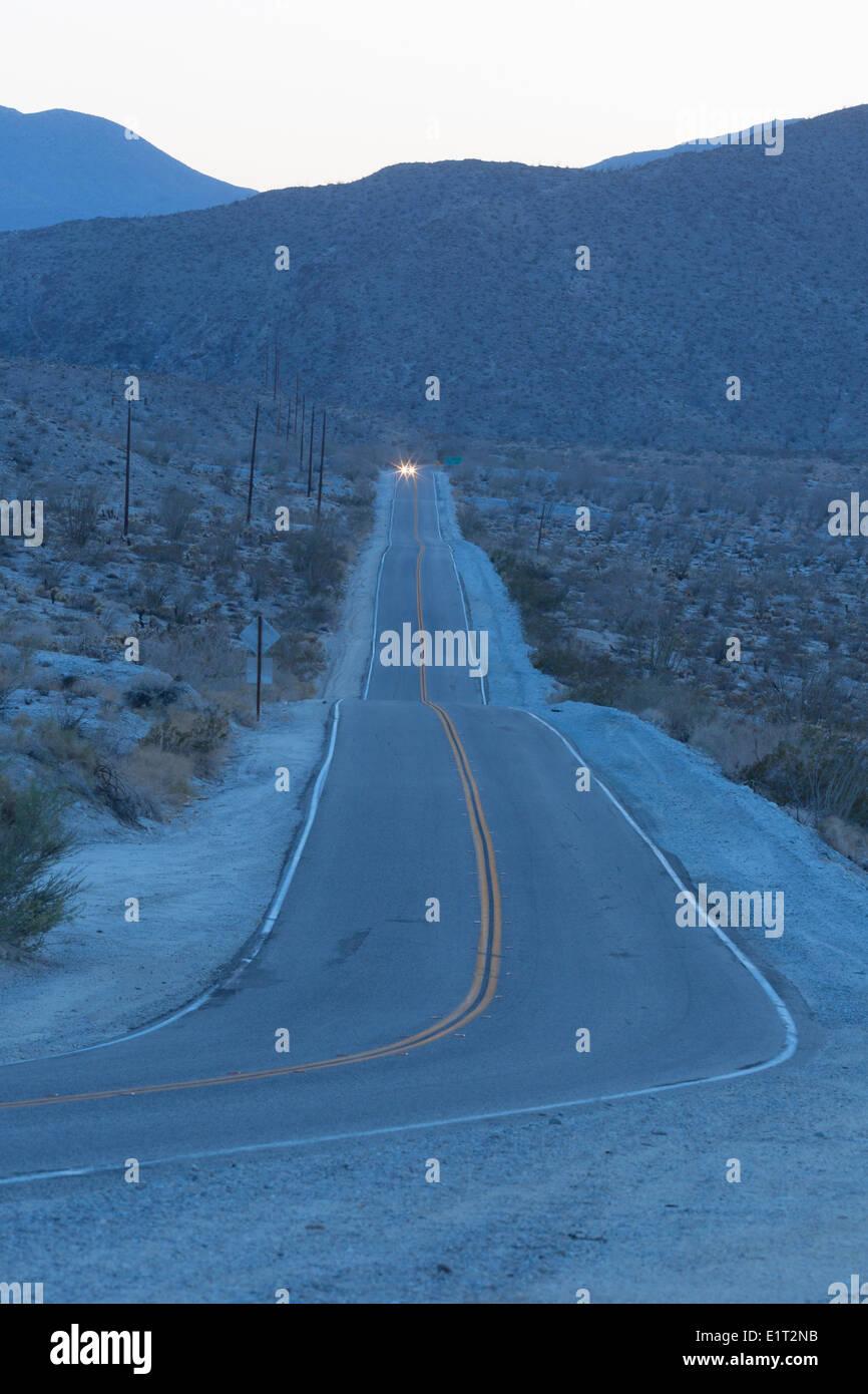 Desert road at twilight. Anza-Borrego Desert, Southern California - Stock Image