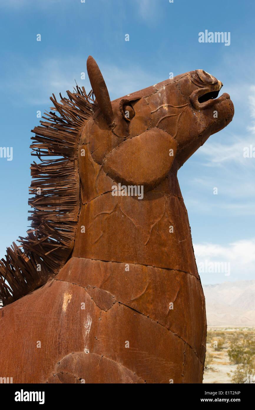 Metal sculptures created by Ricardo Breceda in the Anza-Borrego Desert, California - Stock Image