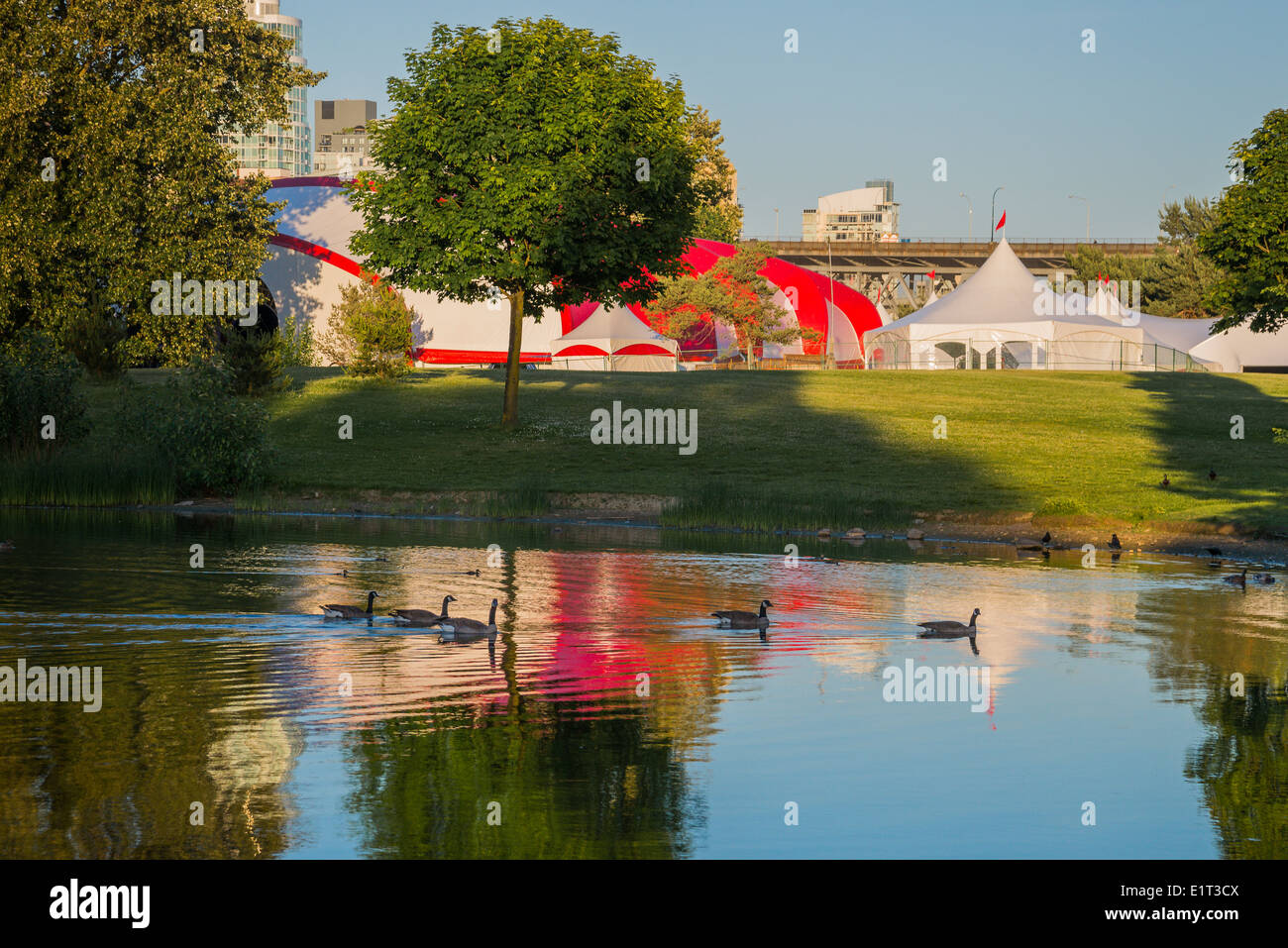 Bard on the Beach tents, Vanier Park, Vancouver, British Columbia, Canada - Stock Image