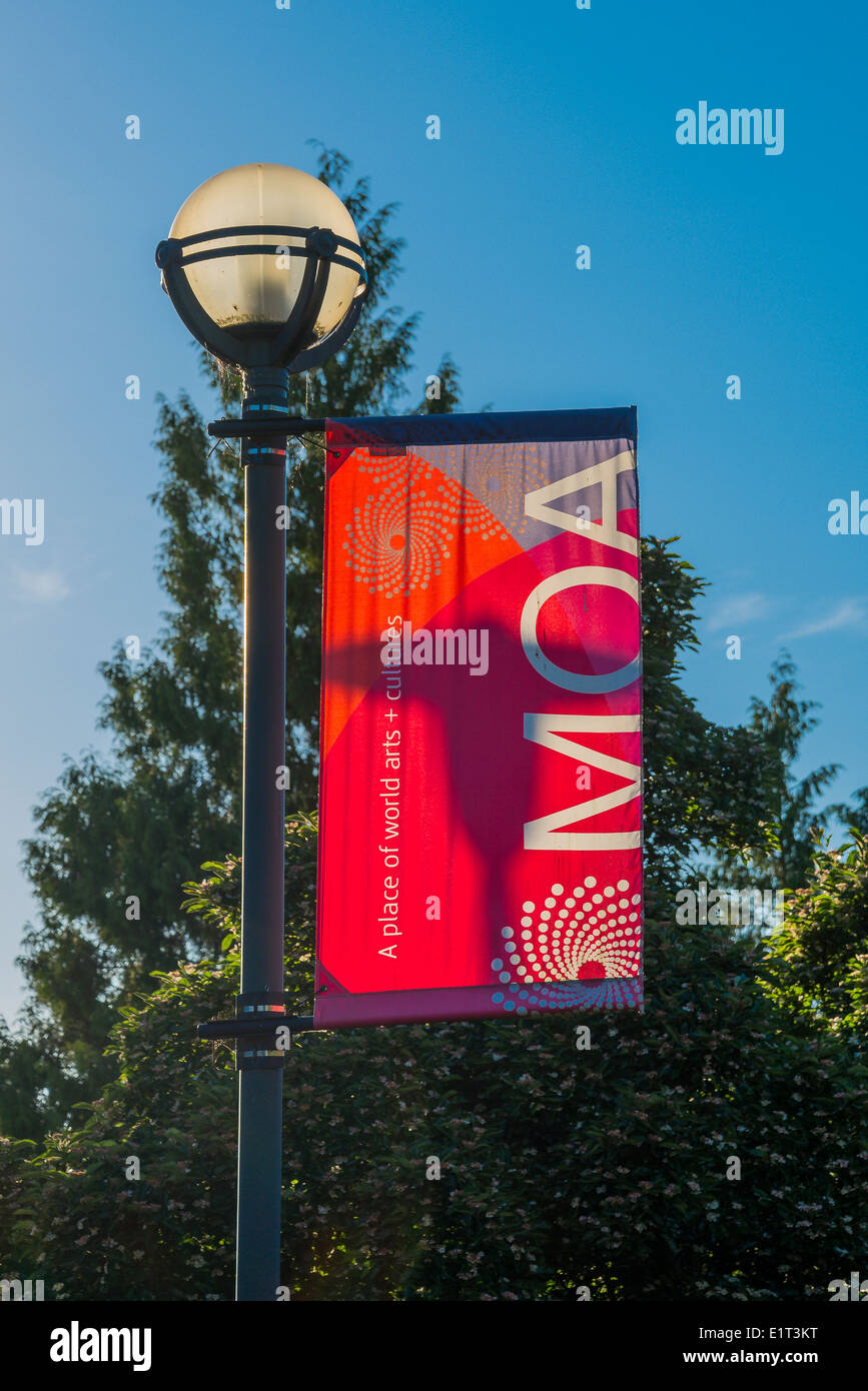 MOA, lamp post banner, Museum of Anthropology, Vancouver, British Columbia, Canada - Stock Image