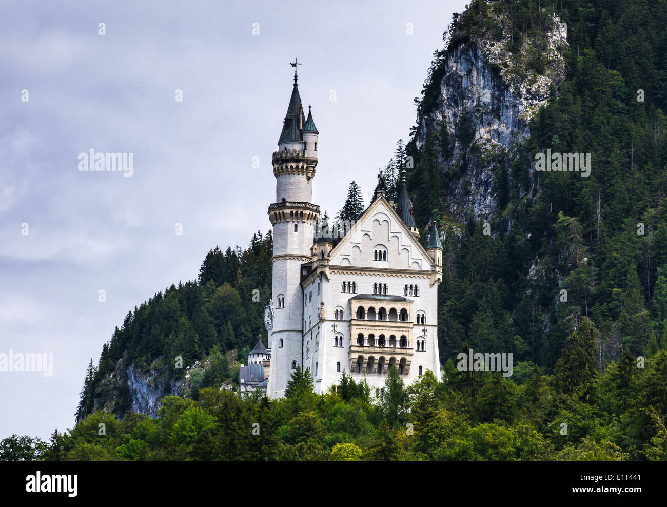 Nuschwanstein Castle. Nineteenth-century Romanesque Revival palace on a rugged hill in southern Bavaria, Germany - Stock Image