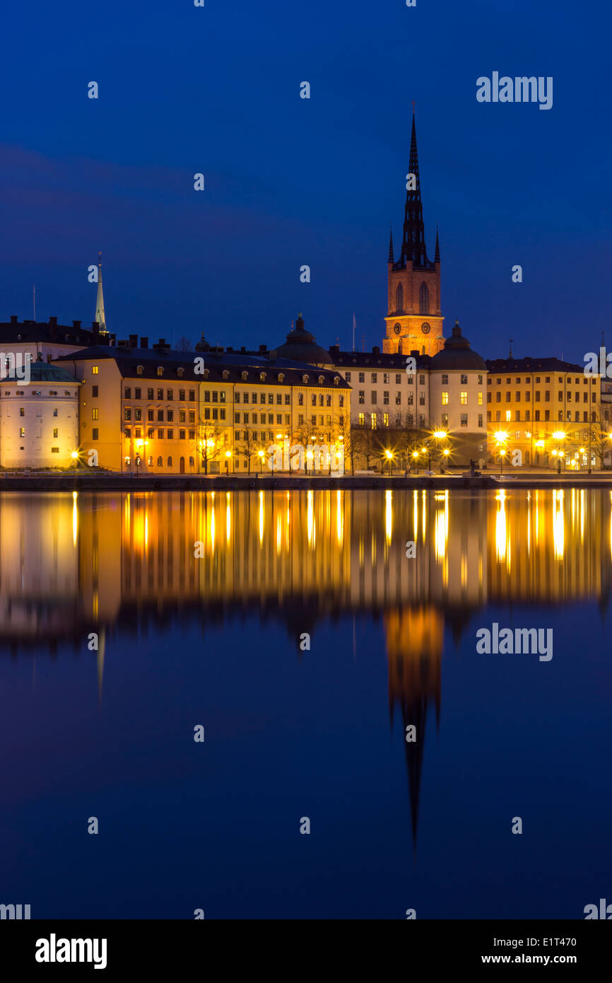 Stockholm Cityscape Series, Riddarholmen at Bluehour - Stock Image