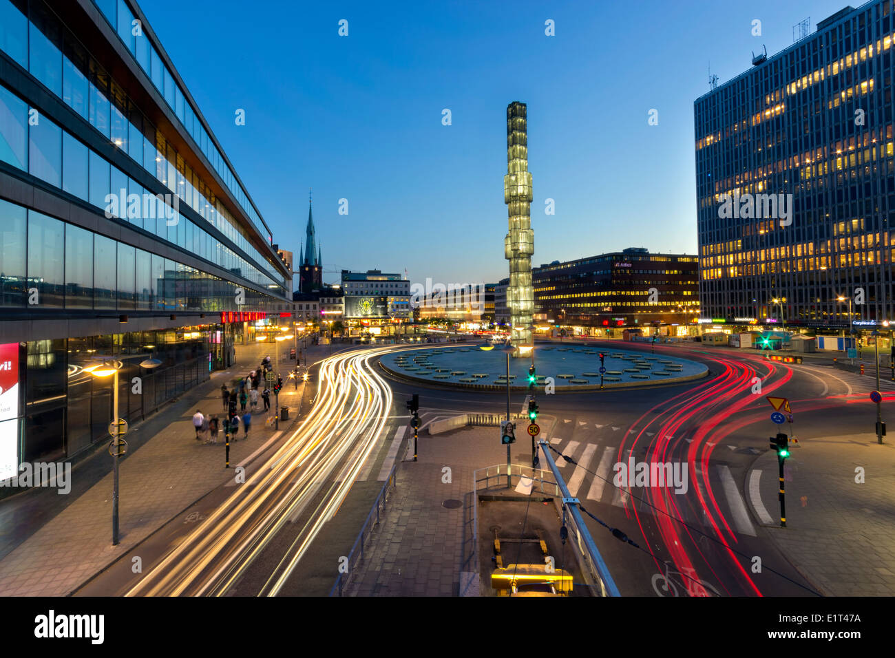 Stockholm Cityscape Series, Sergels Torg at Bluehour - Stock Image