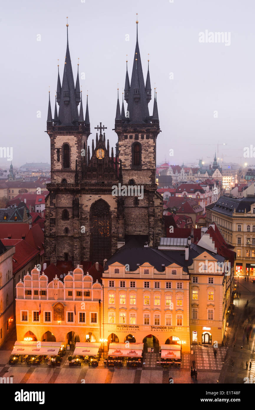 Stare Mesto, Prague symbol, Church of Our Lady of Tyn, with gothic facade and 80 meters towers. Czech Republic. - Stock Image