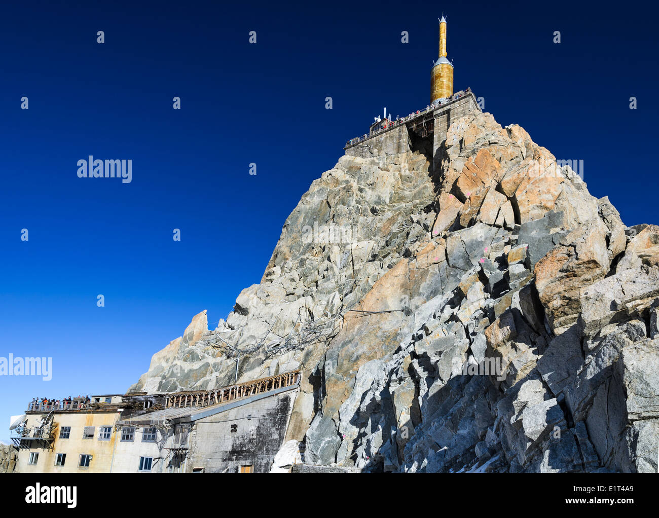 The Aiguille du Midi (3,842 m) is mountain in the Mont Blanc massif in the French Alps with panoramic view platform to Chamonix - Stock Image