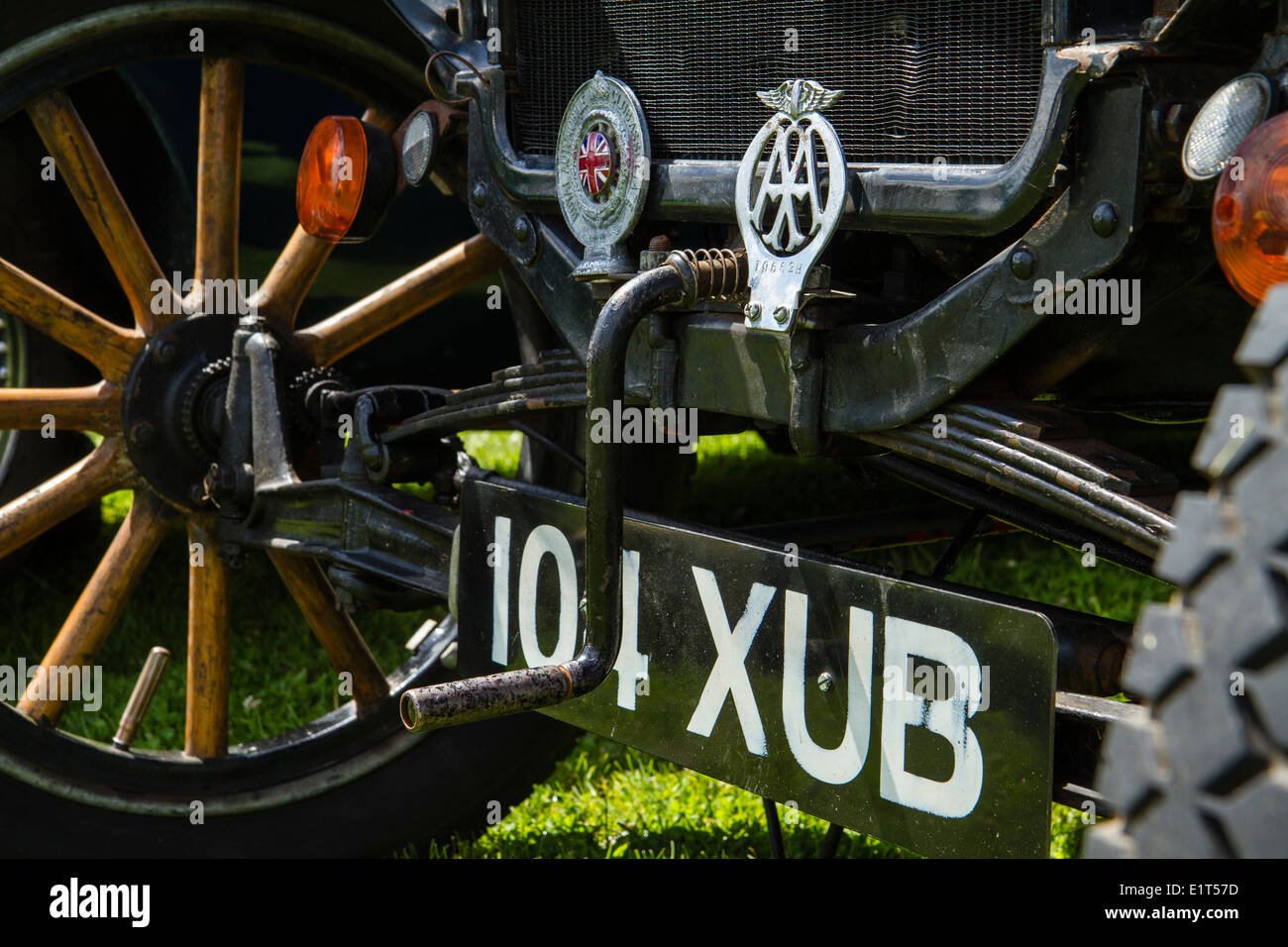 Hand crank starting handle on Model T Ford vintage car. - Stock Image