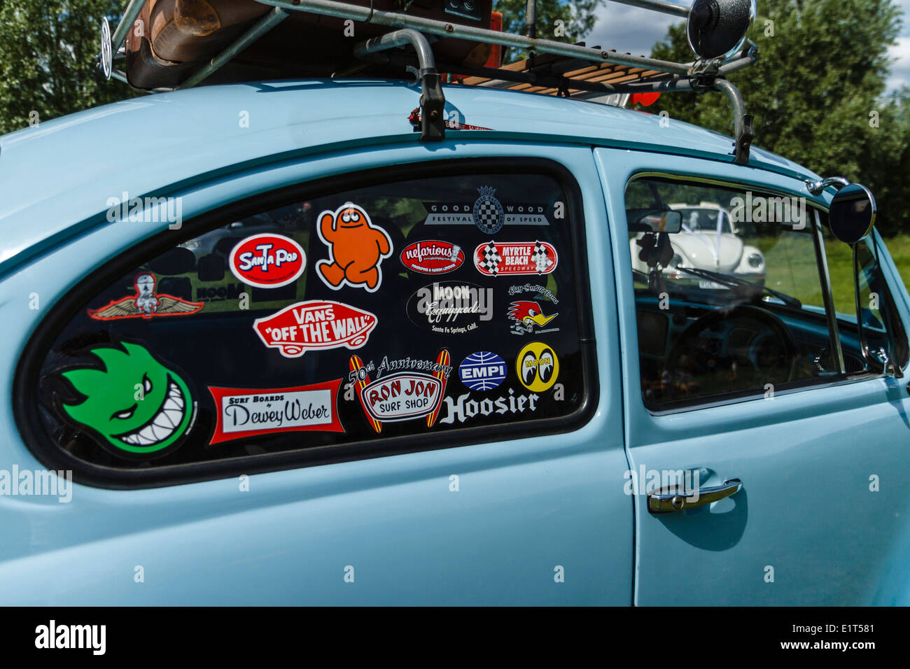 Vw beetle decorated with a variety of stickers stock image