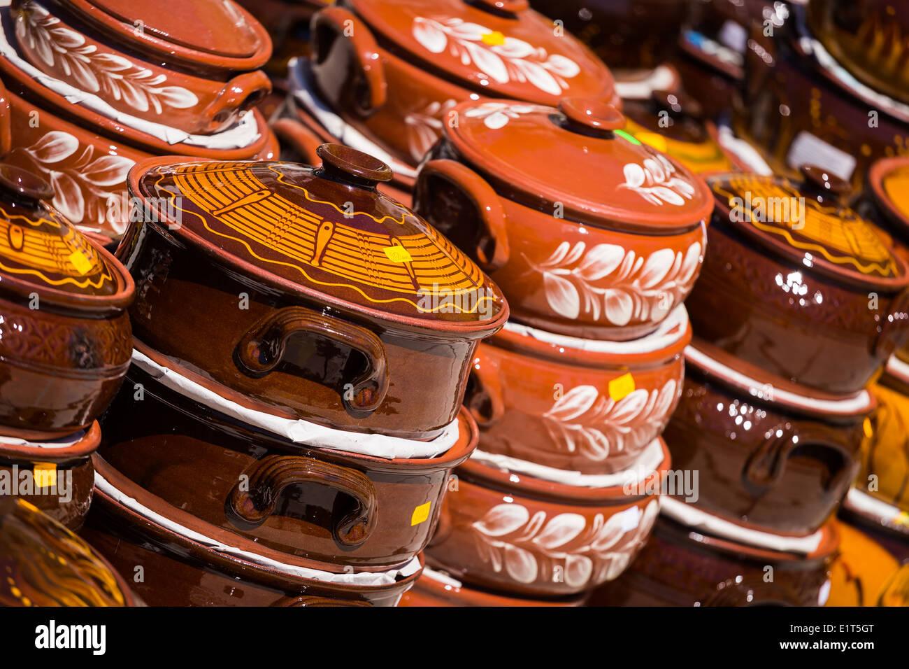 earthenware pottery on sale during the sudamja celebrations in split croatia - Stock Image