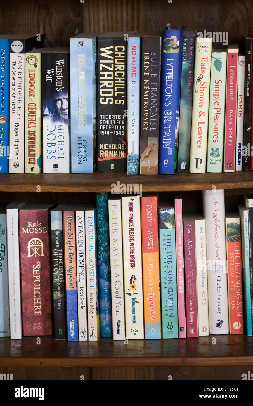 Books on a bookshelf. - Stock Image