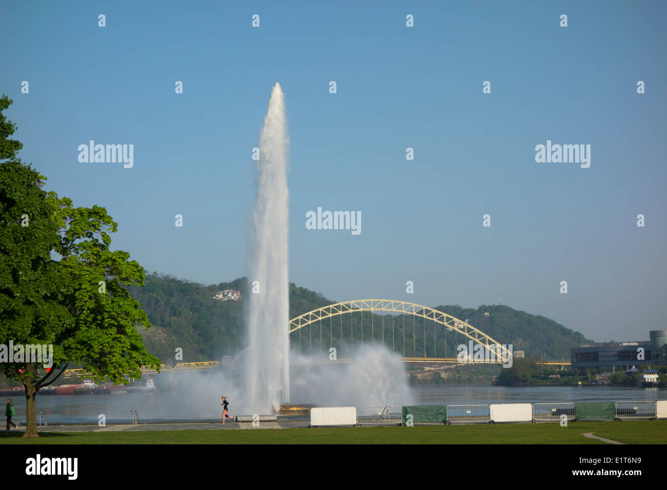 Fort Pitt park fountain in Pittsburgh PA Stock Photo