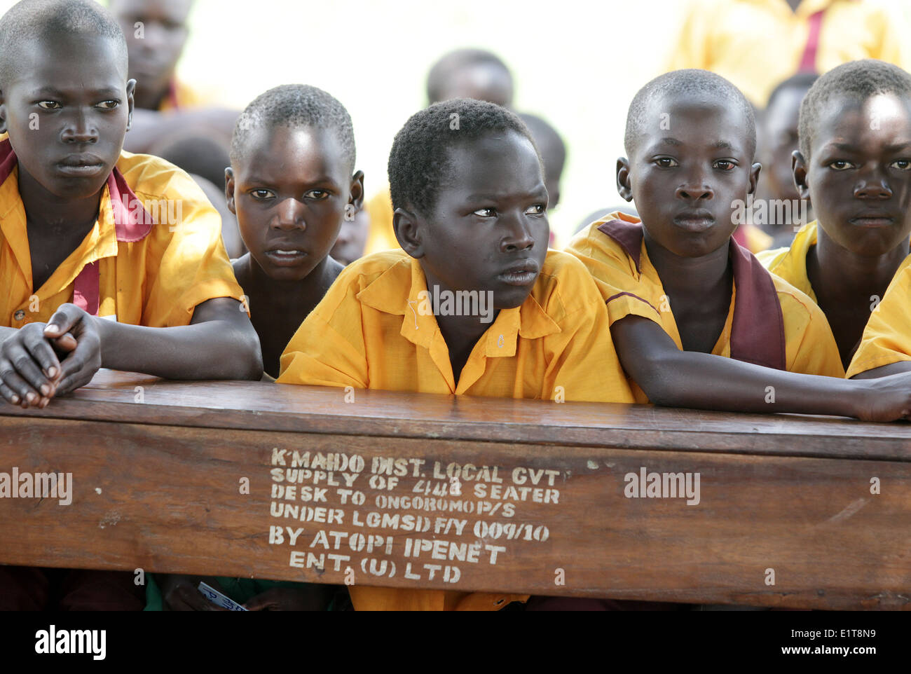 School children taught at their village school in the Lira district of northern Uganda. - Stock Image