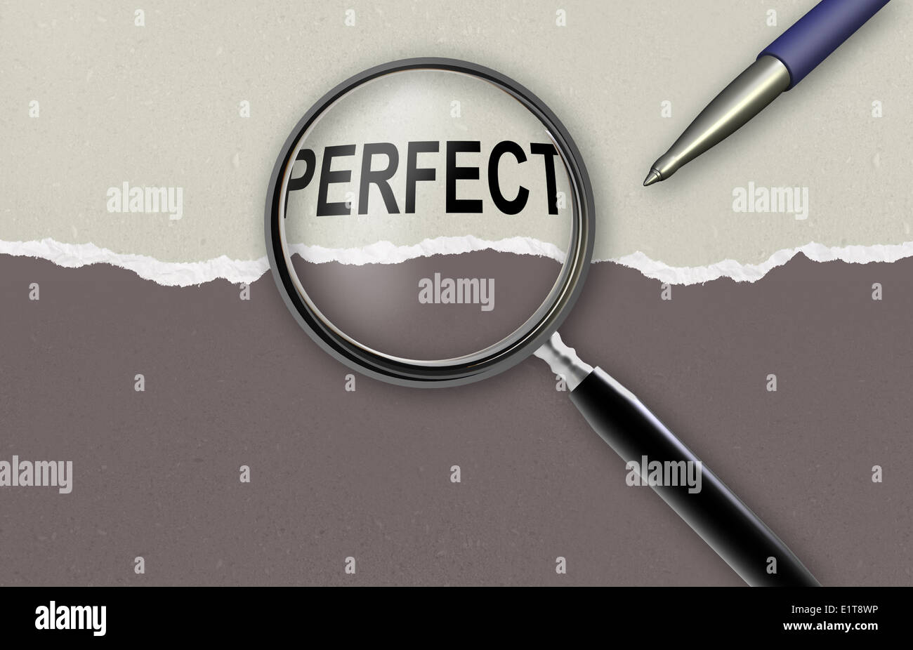 word perfect and magnifying glass on torn paper made in 2d software - Stock Image