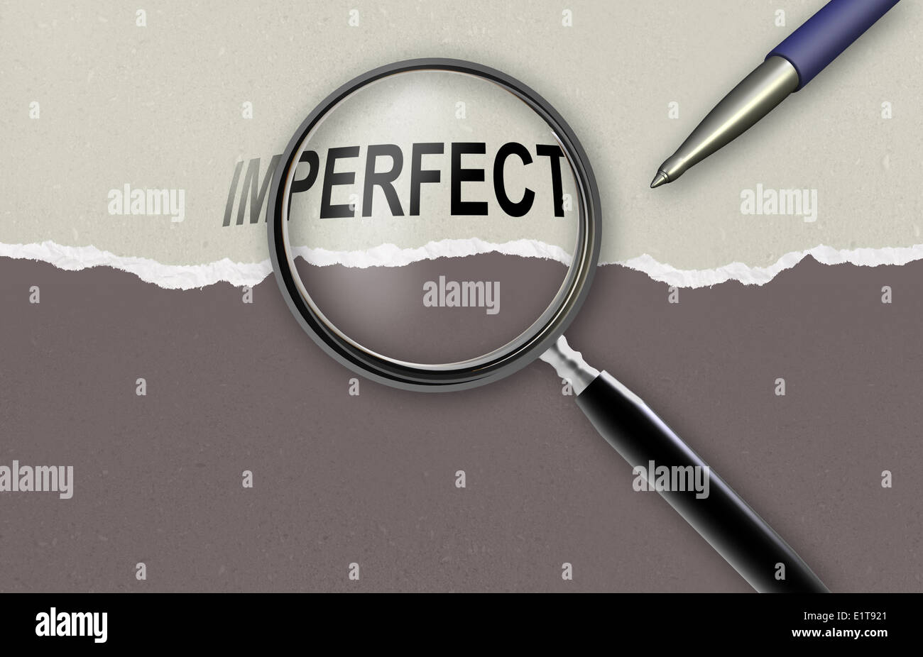 changing the word imperfect for perfect and magnifying glass made in 2d software - Stock Image