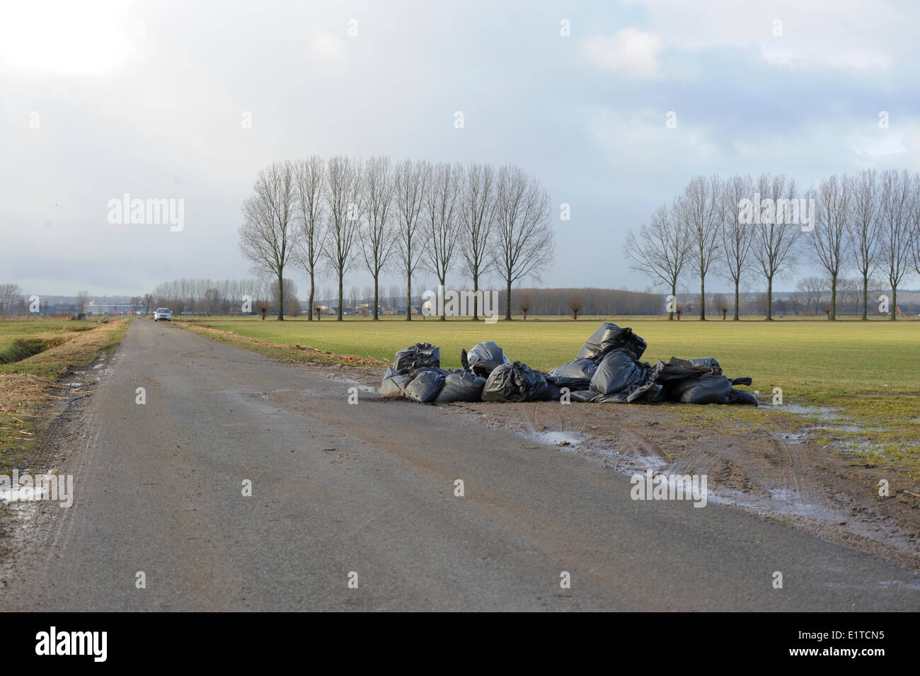 disposed rubbish of a illegal canabis plantation, left somewhere in the polder - Stock Image