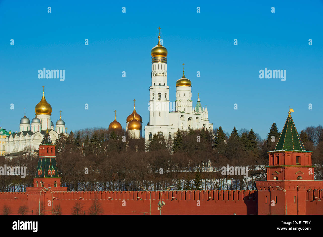 Russia, Moscow, Church of Archangel Michael behind Kremlin Wall - Stock Image