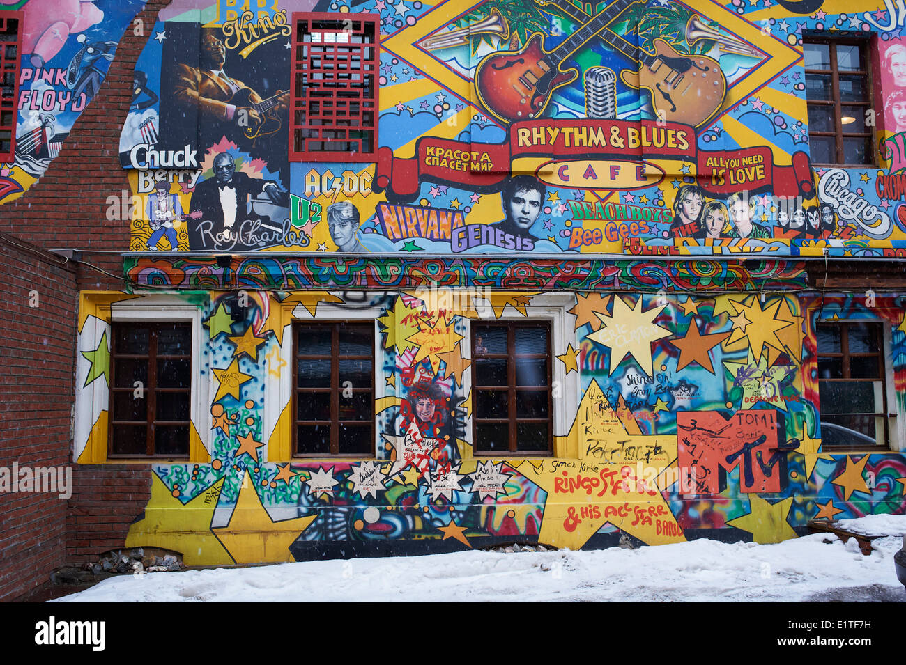 Russia, Moscow, Rhythm & Blues café with painting wall - Stock Image