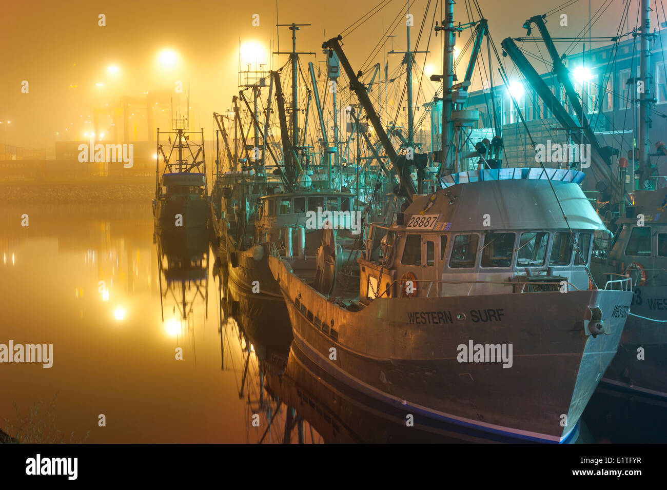 Commercial Fishing Boats in Vancouver Harbour,  British Columbia, Canada - Stock Image