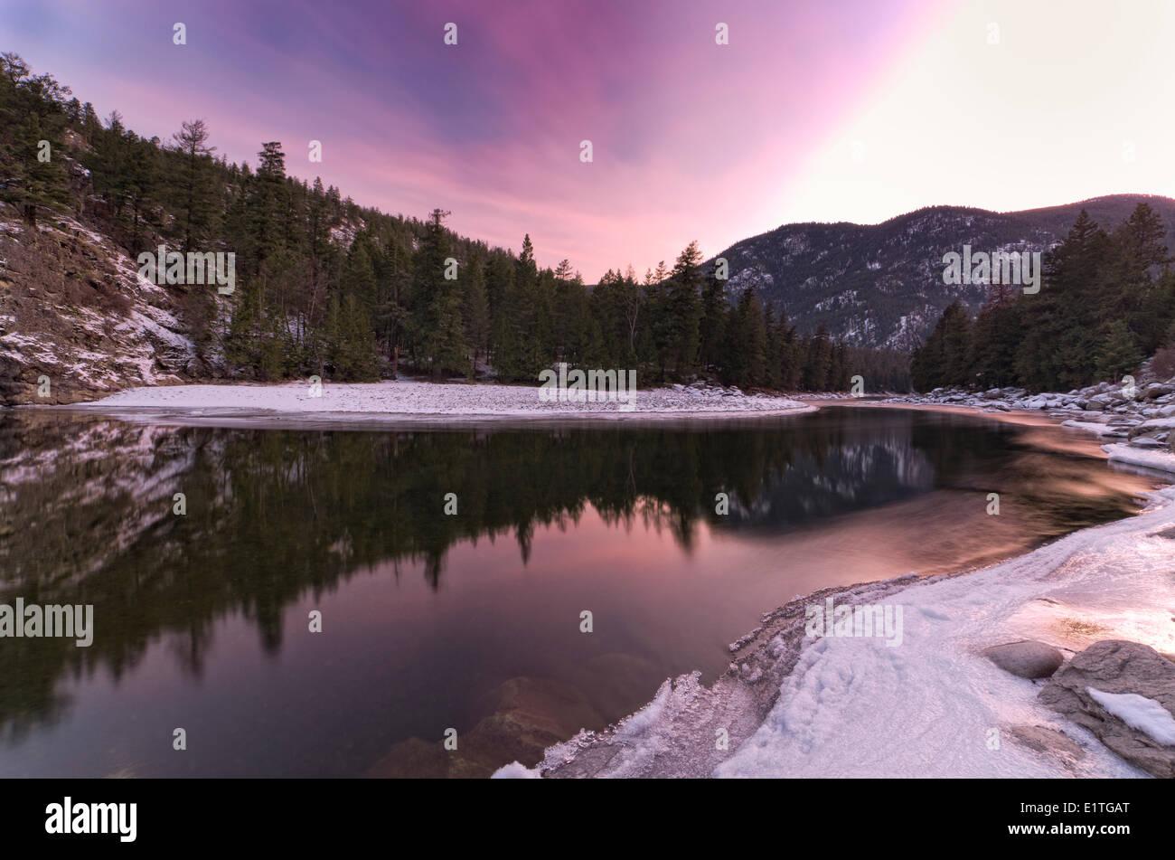 Sunset at Bromley Rock Provincial Park, Okanagan Valley, British Columbia. - Stock Image