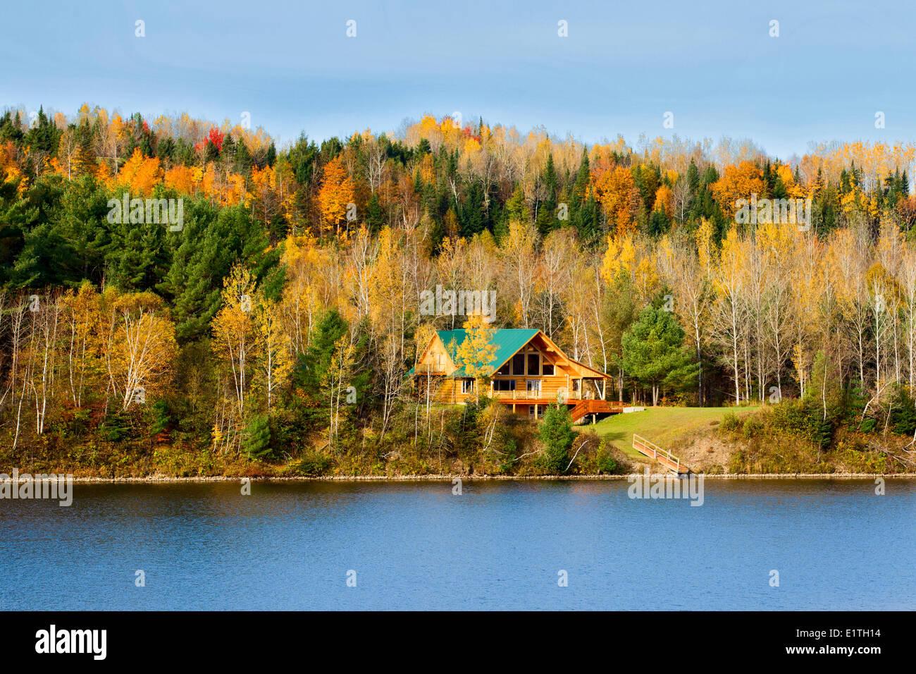 Log house, Upper Kent, Saint John River Valley, New Brunswick, Canada - Stock Image