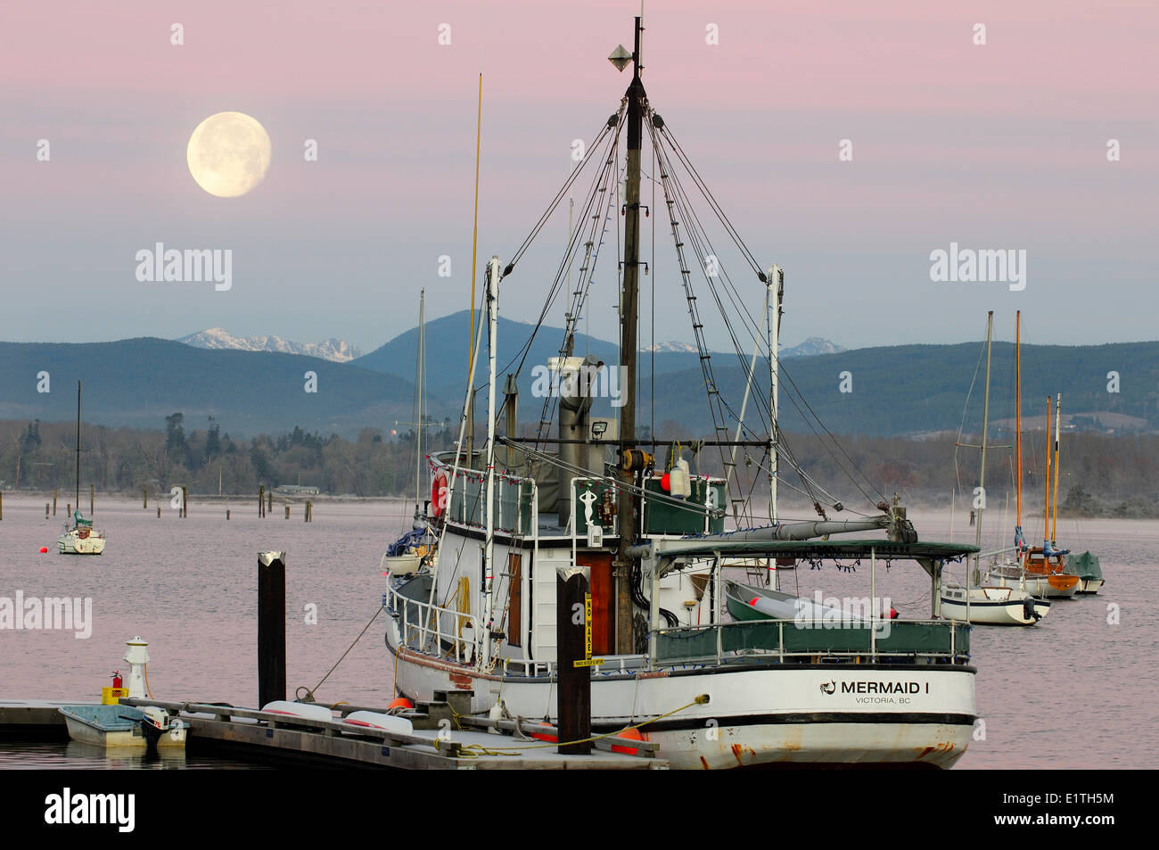 The fishing boat, Mermaid1, under a full moon while at berth in Cowichan Bay, BC. - Stock Image