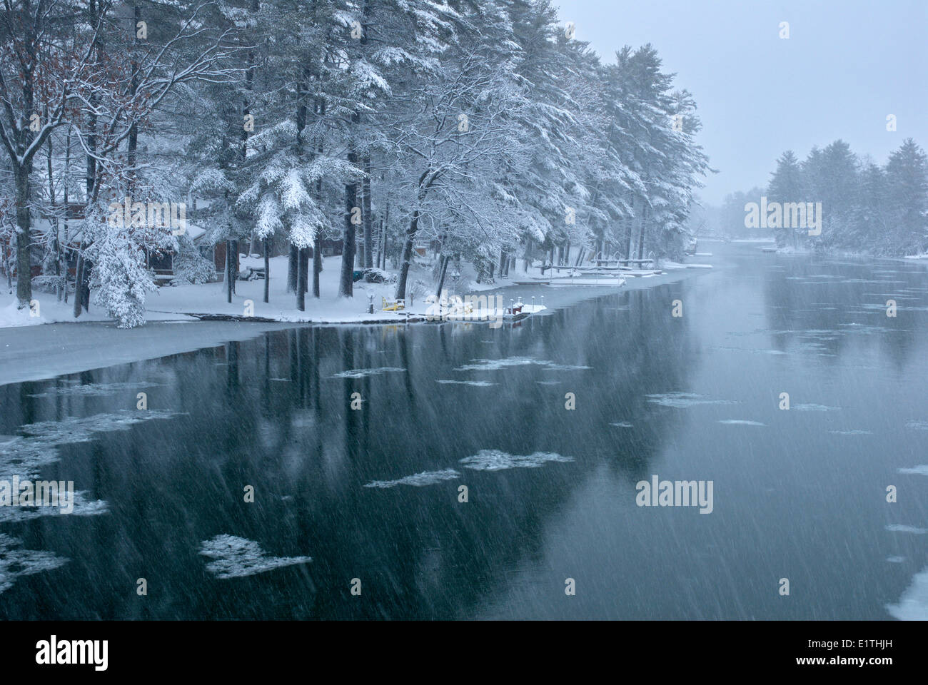 Snow Squall in Cottage country on the Severn river, Muskoka Ontario - Stock Image