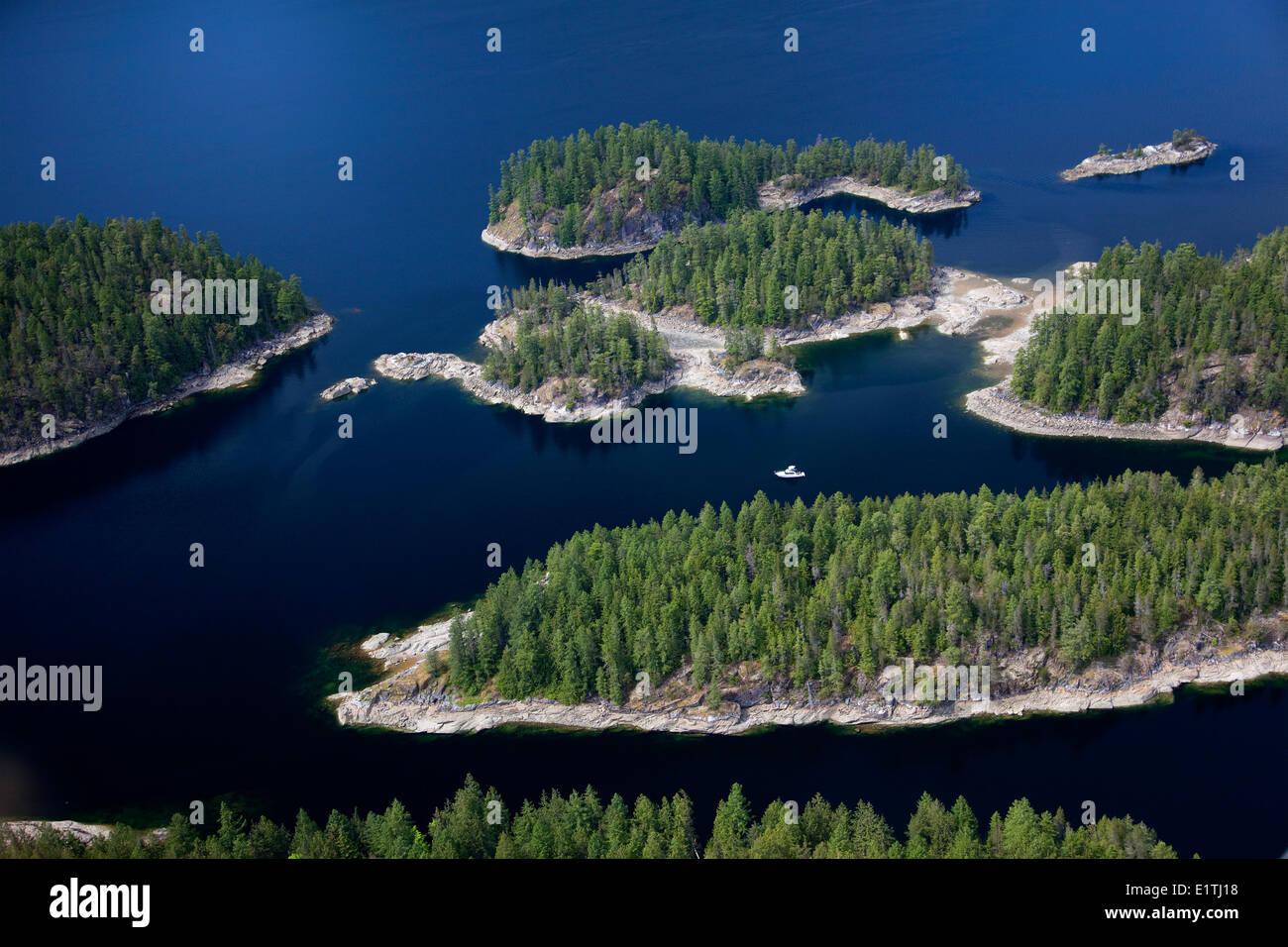 Prideaux Haven, Aerial, Boating, Summer, Desolation Sound Marine Provincial Park, Sunshine Coast, B.C., Canada - Stock Image