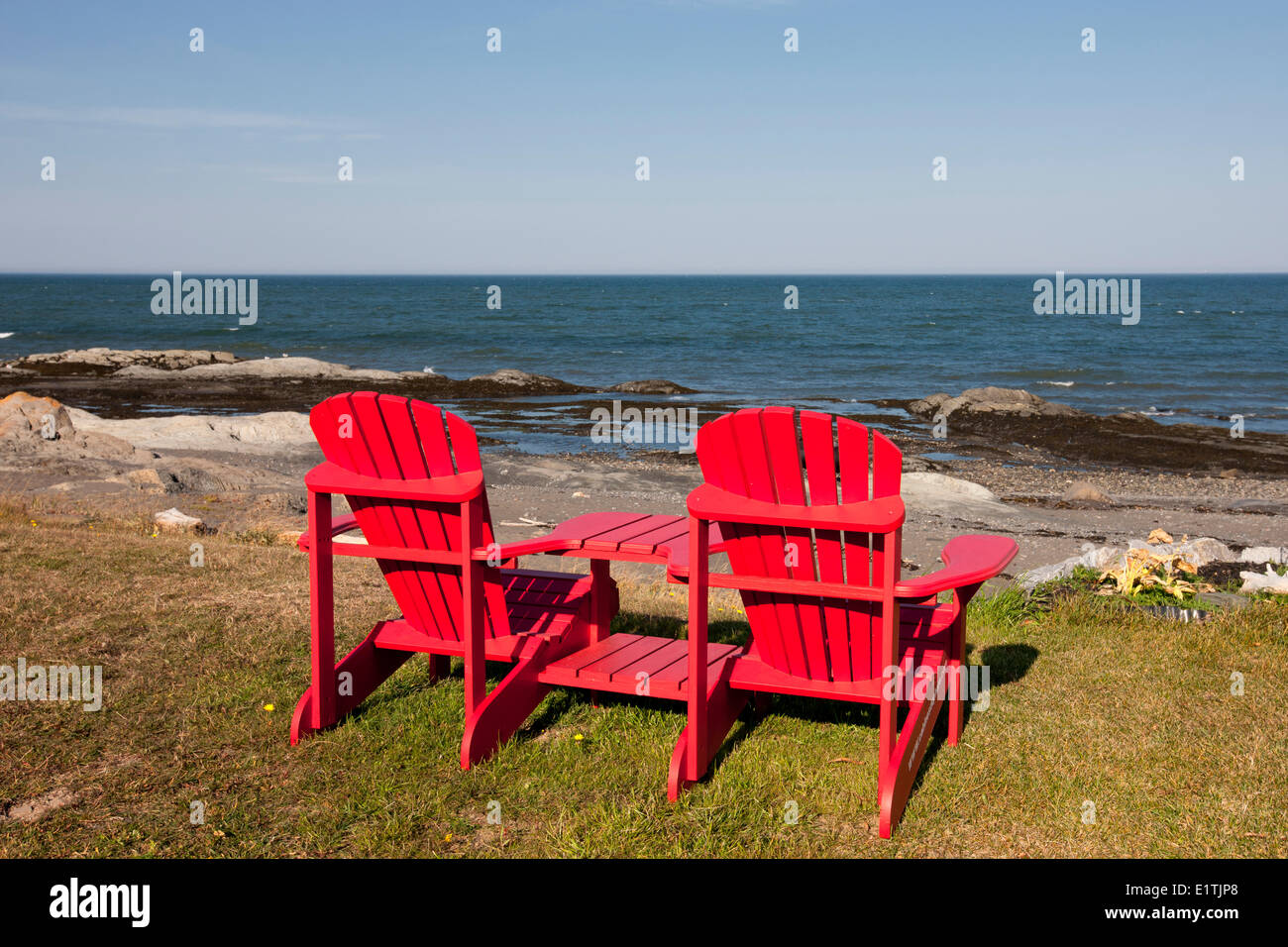 Lawn chairs, Pointe-au-Père, Quebec, Canada - Stock Image