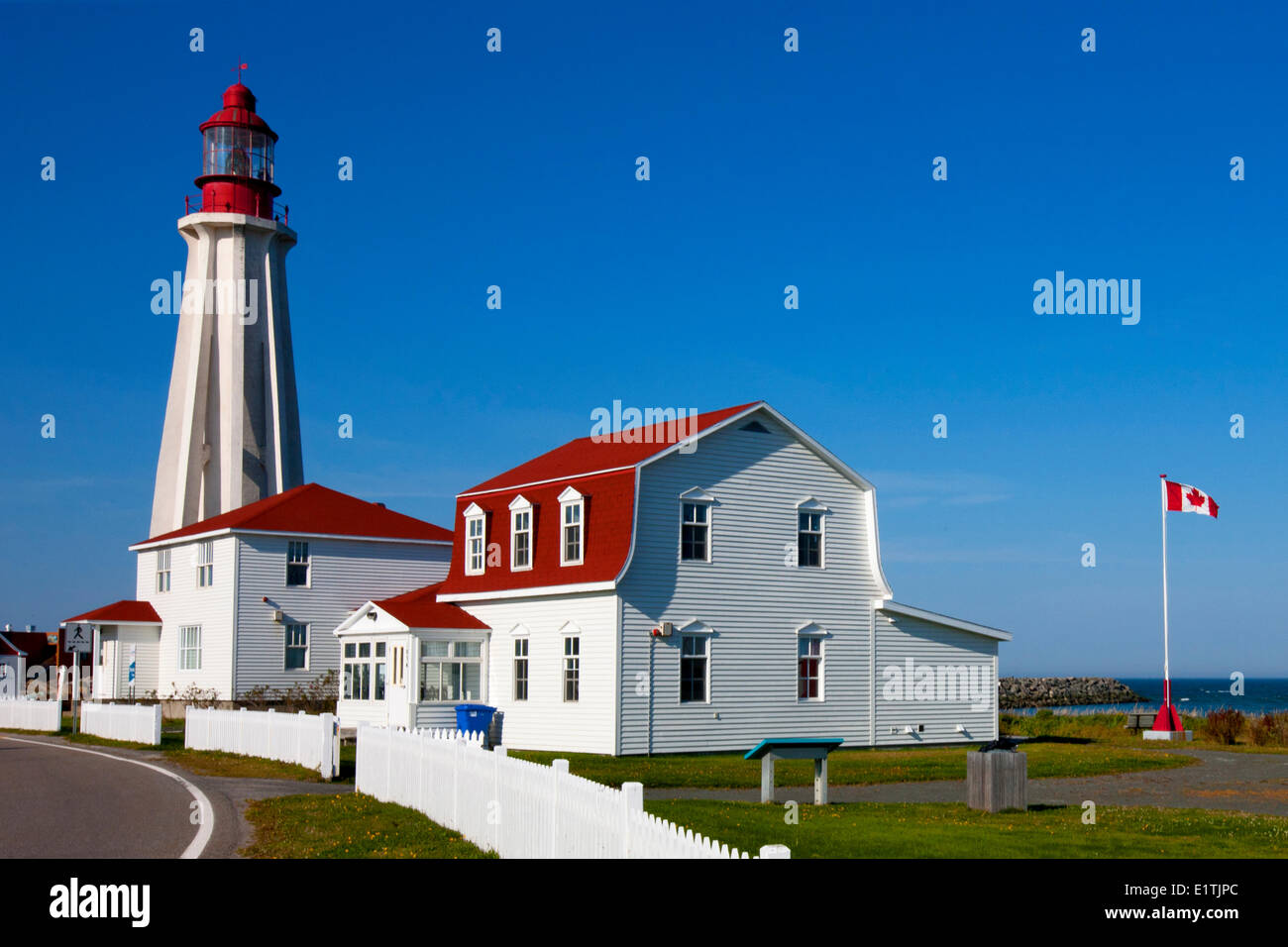 Lighthouse at Pointe-au-Père Maritime Historic Site,  Quebec, Canada - Stock Image