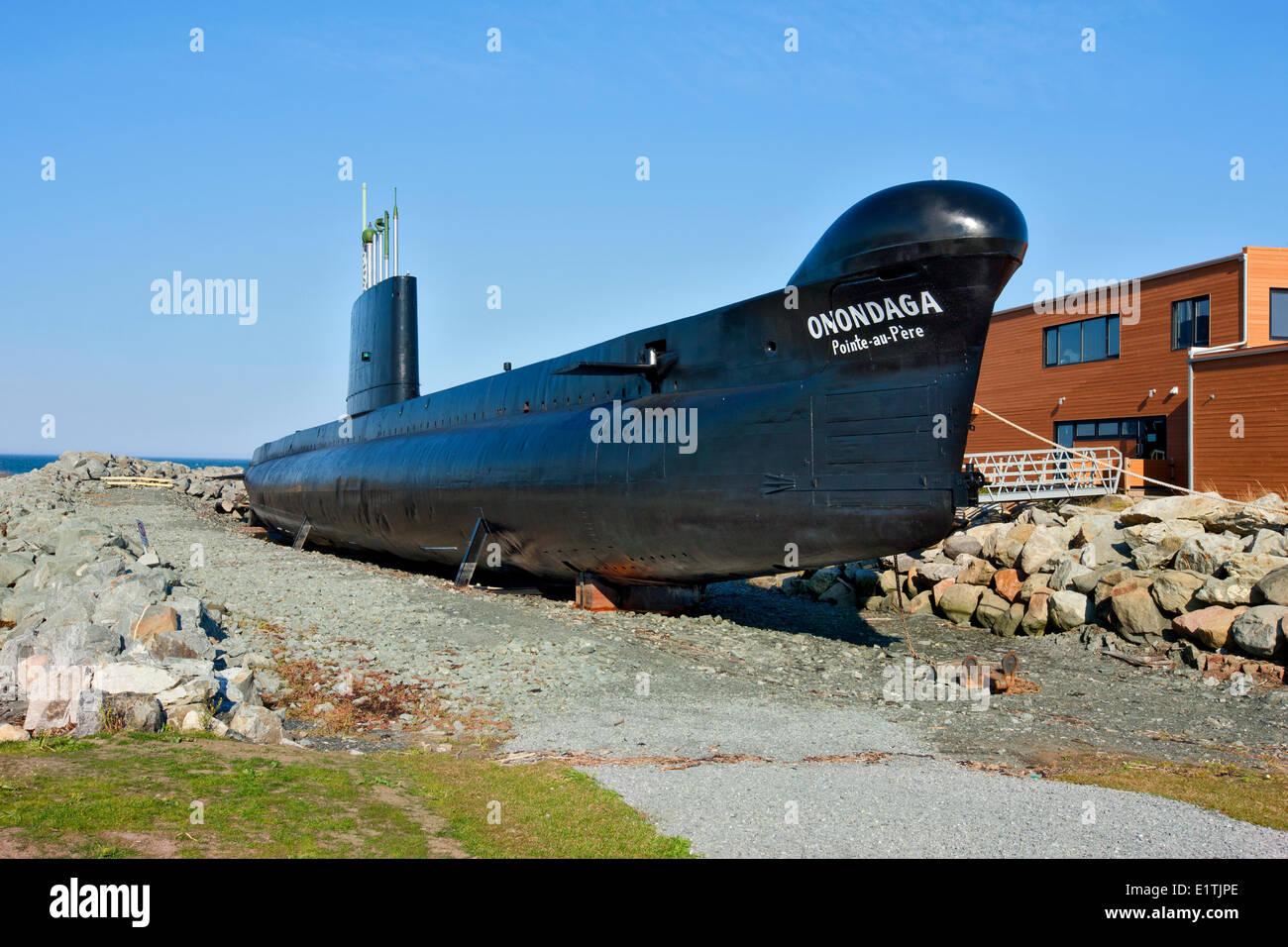 Onondaga Submarine, Pointe-au-Père Maritime Historic Site,  Quebec, Canada - Stock Image