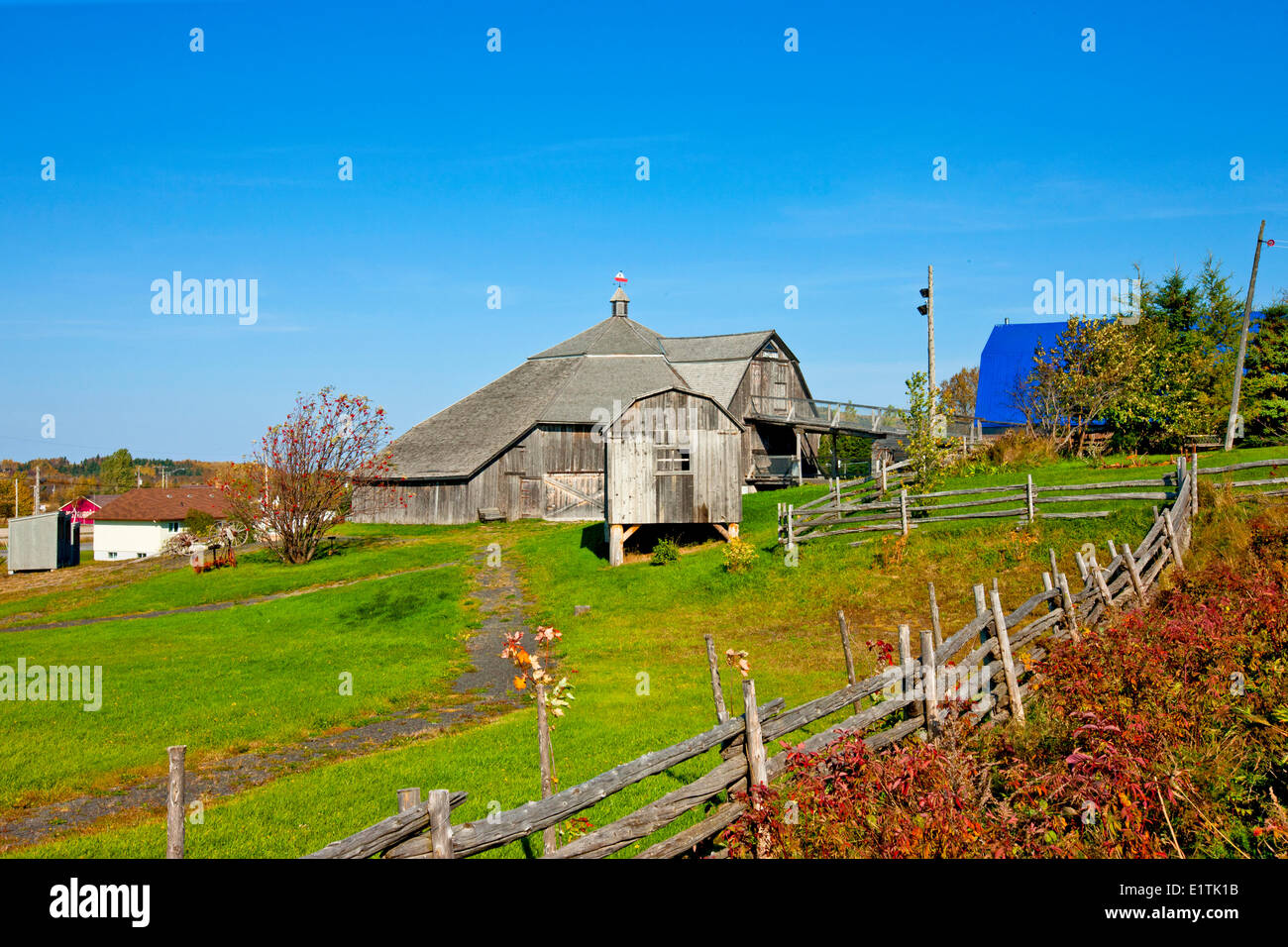 Built in 1888, the Saint-Fabien barn is officially known as the Adolphe-Gagnon Octagonal Barn, Quebec, Canada - Stock Image