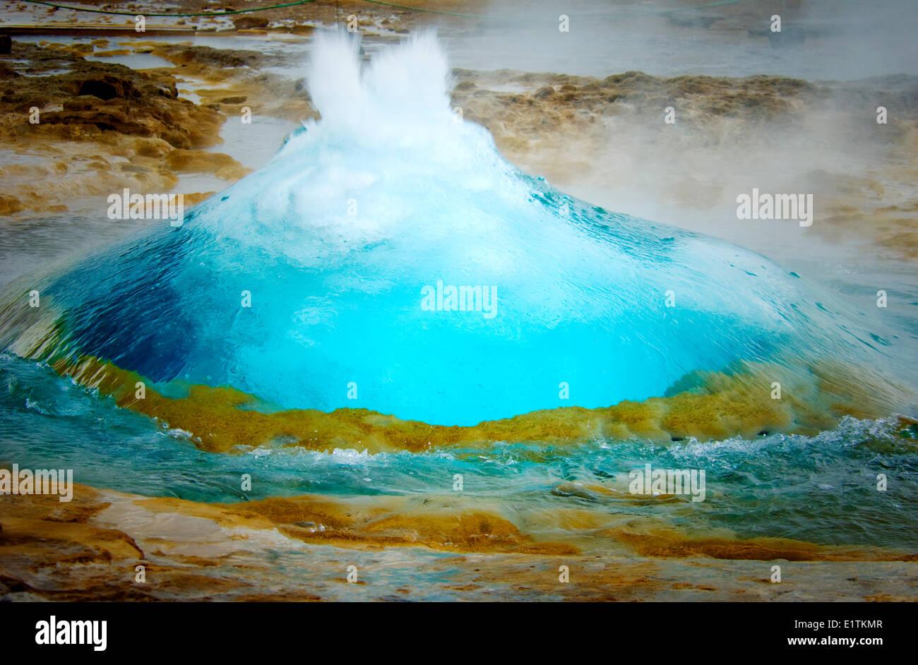 Great geyser erupting, Iceland - Stock Image