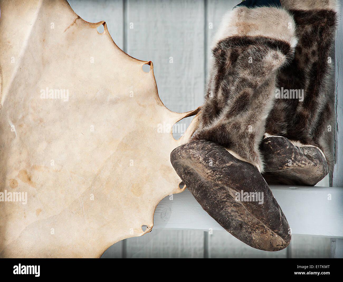 kamiks, seal skin, Igloolik, Nunavut, Canada - Stock Image
