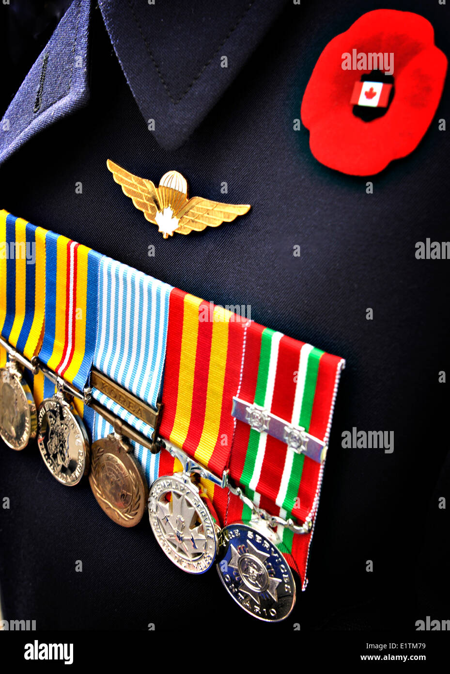 Veteran uniform on Rememberance Day with medals and rememberance day poppy, Canada - Stock Image