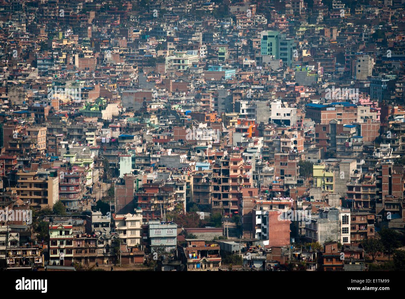 The view of Kathmandu from Swayambhunath above Kathmandu, Nepal - Stock Image