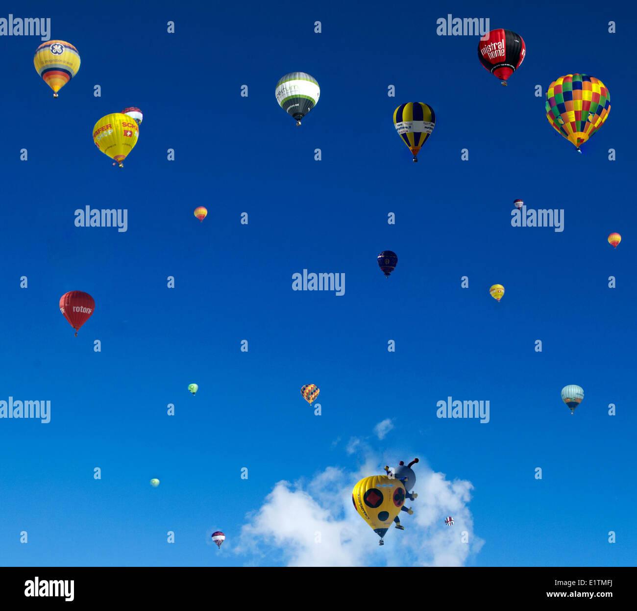 Europe, Switzerland, Vaud Canton, Chateau d'Oex city, Hot Air Balloon International Festival Stock Photo