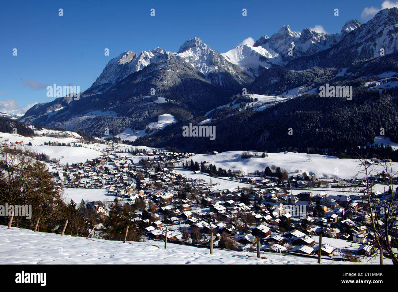 Europe, Switzerland, Vaud Canton, Chateau d'Oex city Stock Photo