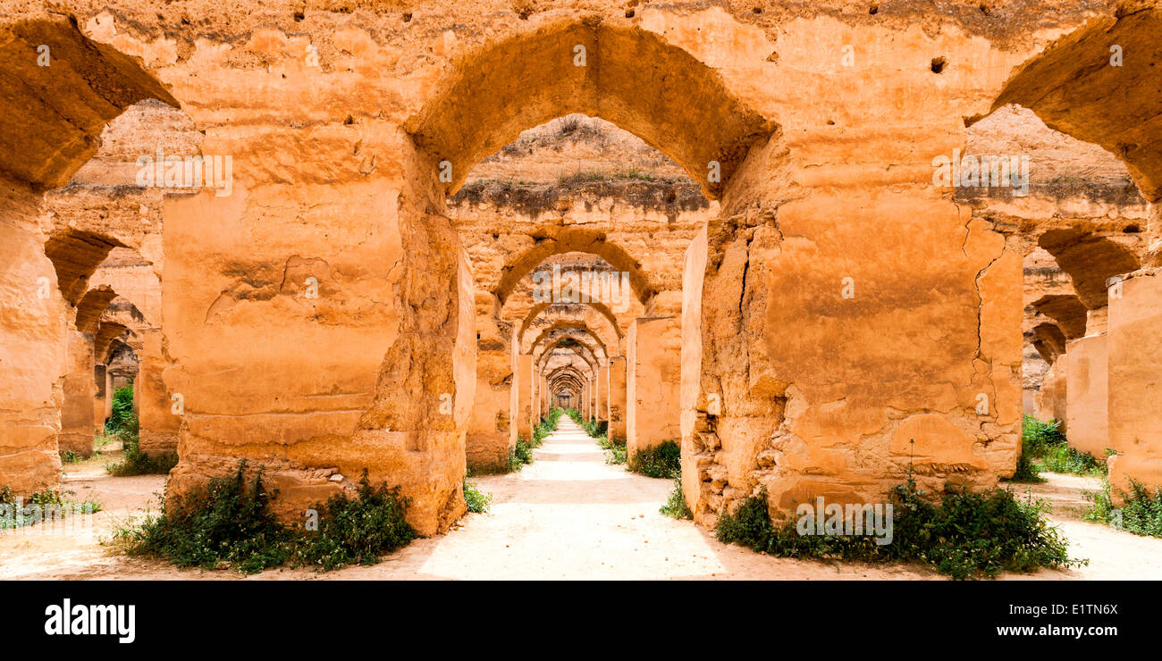View of Heri es Souani, the Grainstore Stables in Meknes, Morocco. - Stock Image