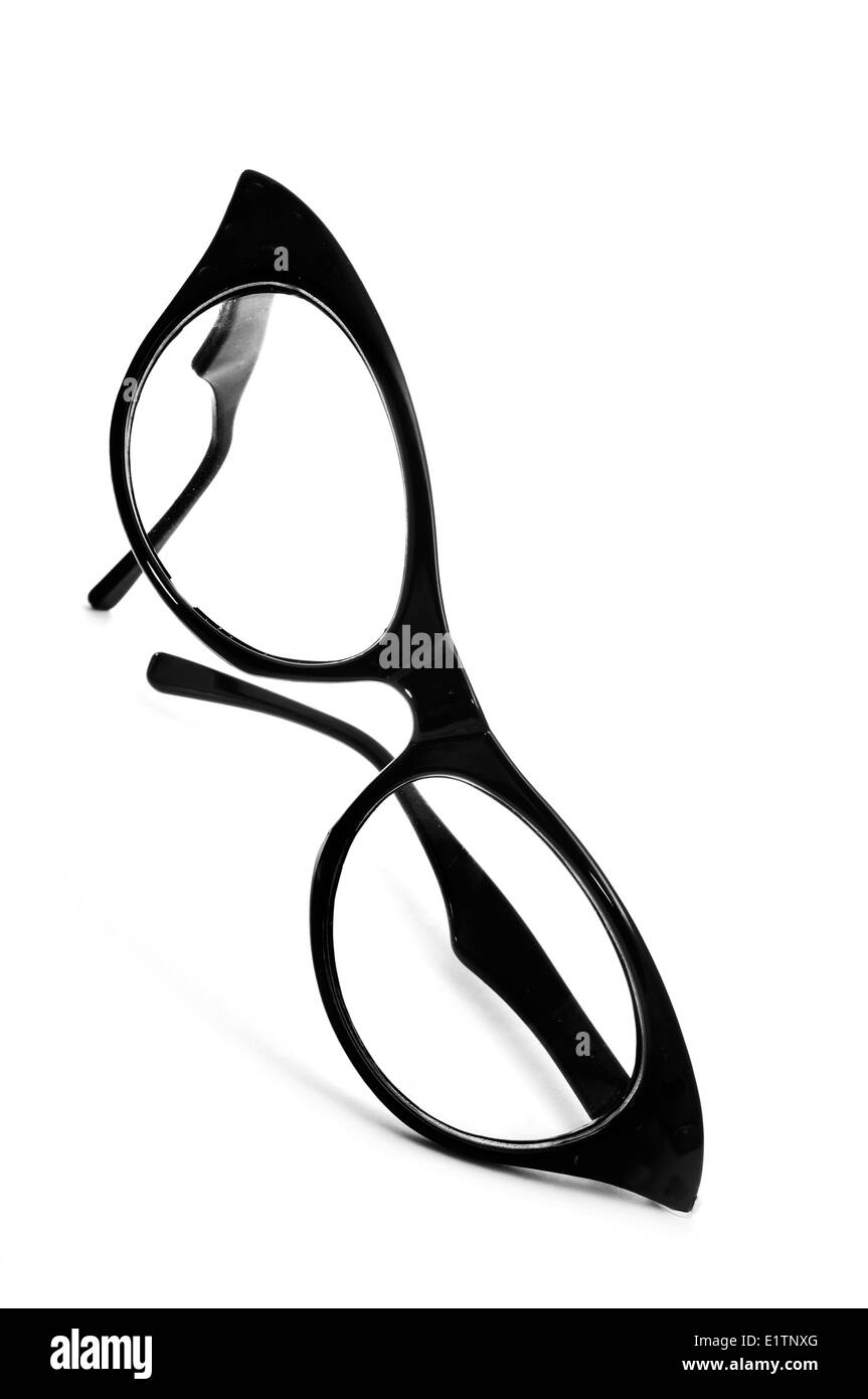 a black retro-styled eyeglasses for women on a white background - Stock Image