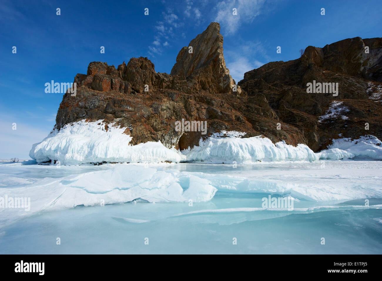 Russia, Siberia, Irkutsk oblast, Baikal lake, Maloe More (little sea), frozen lake during winter, Olkhon island - Stock Image
