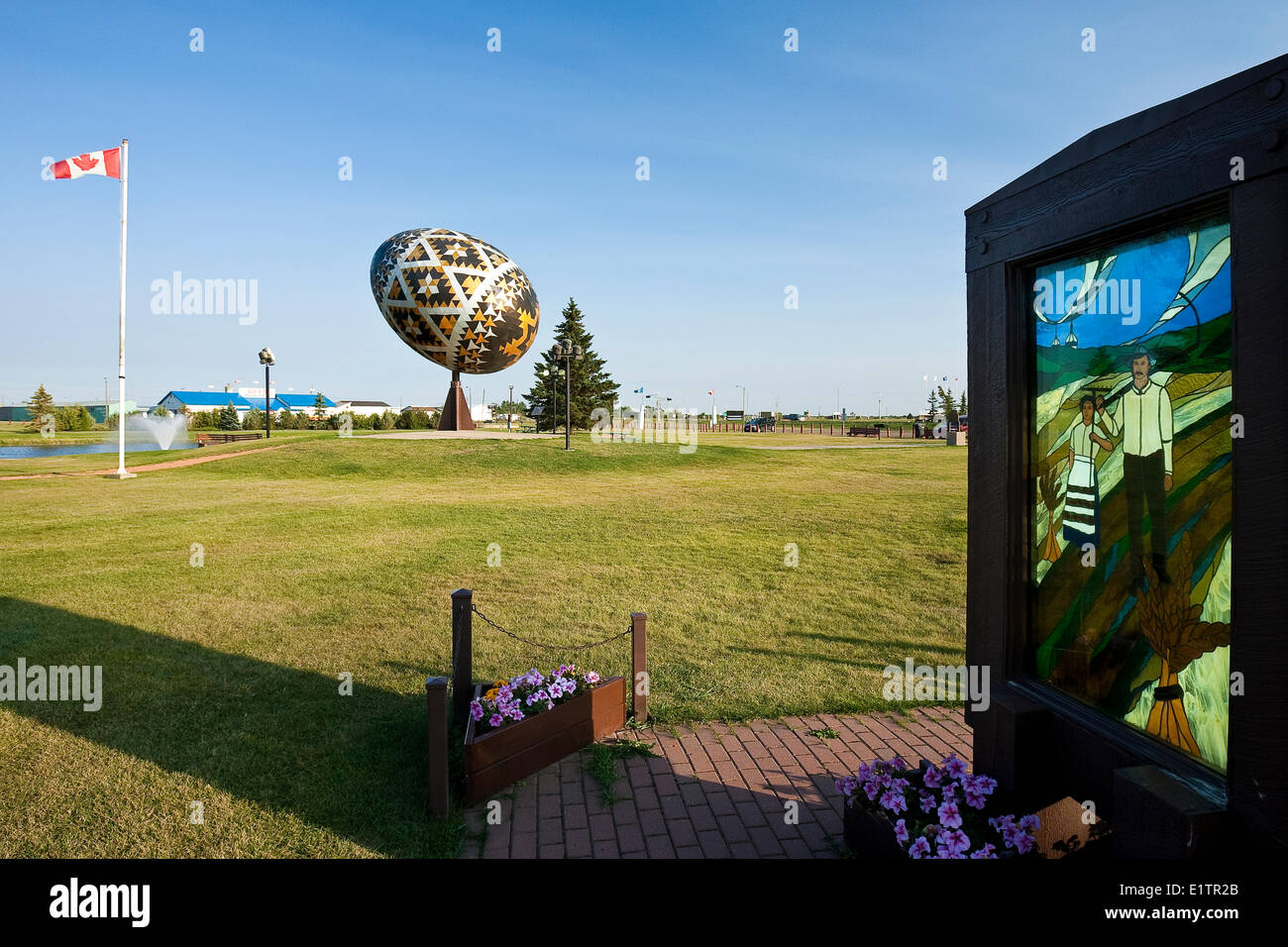 Worlds largest Pysanka and Ukranian Pioneers stained glass window in Vegreville, Alberta, Canada - Stock Image