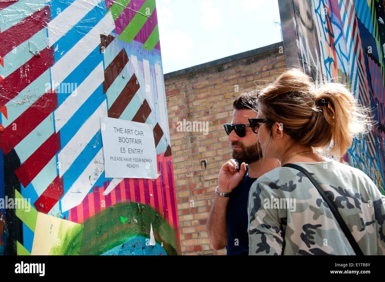 Buxton Street off Brick Lane, East London. June 8th 2014. Vauxhall Art Car Boot Fair - Stock Image