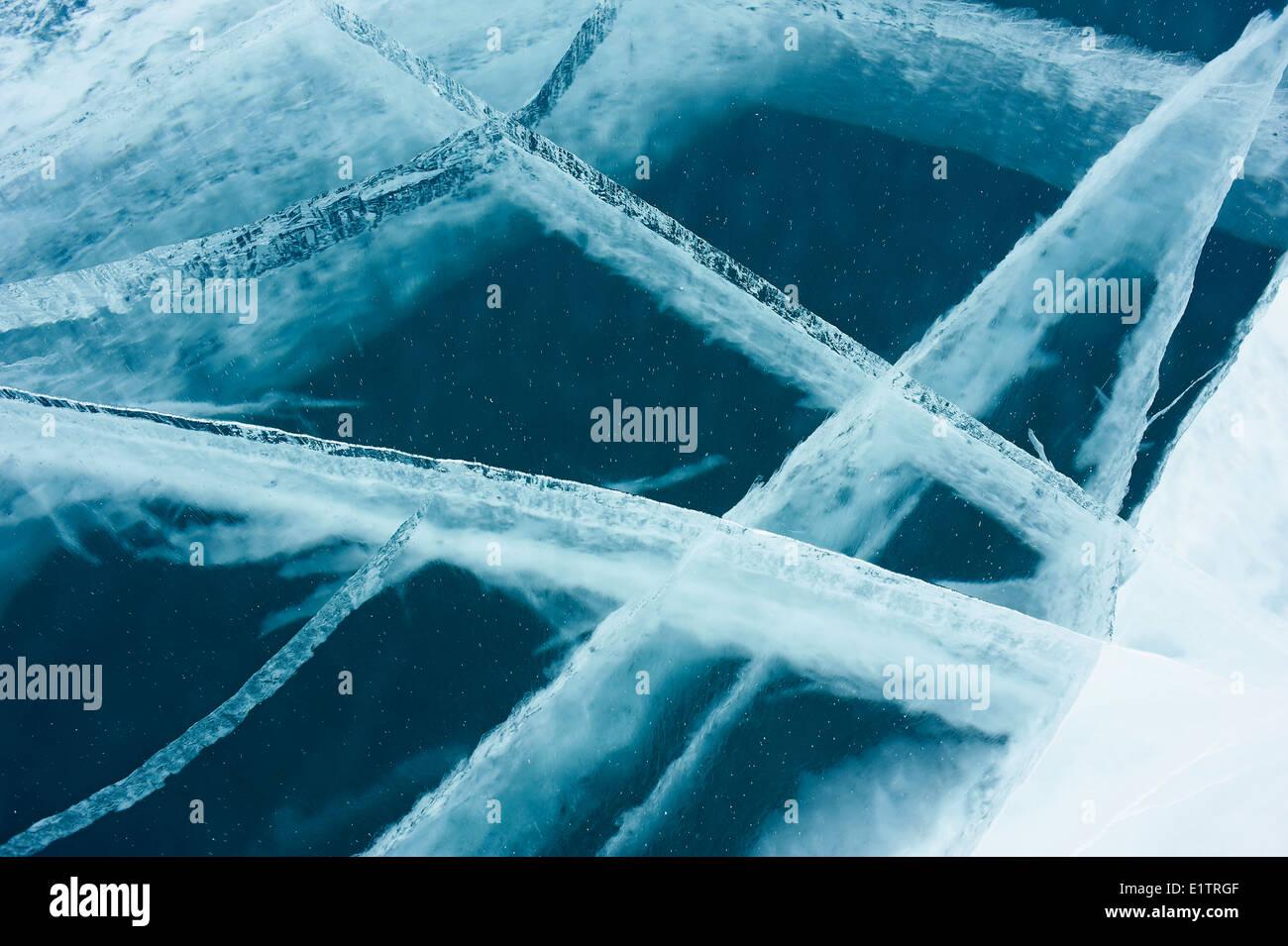 Russia, Siberia, Irkutsk oblast, Baikal lake, Maloe More (little sea), frozen lake during winter, detail - Stock Image
