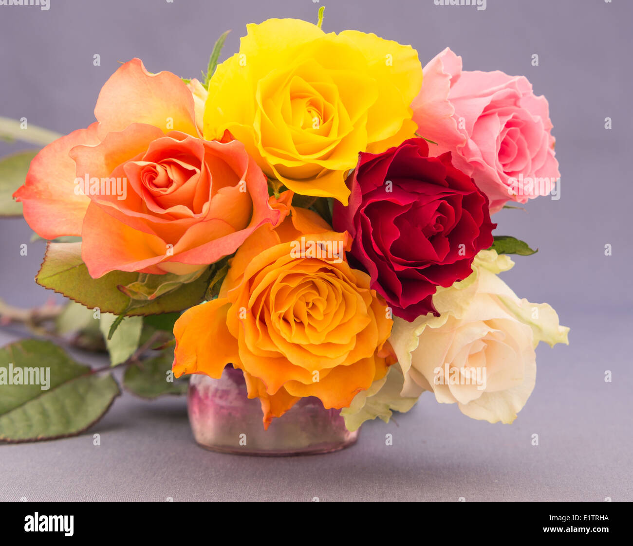 Close Up Of An Arrangement Of Yellow Red White Orange And Pink