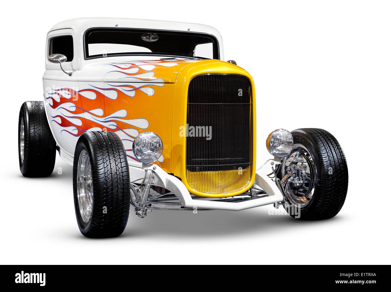 Hot rod Ford 3-window Hi-Boy Coupe 1932 retro car with flame pattern ...