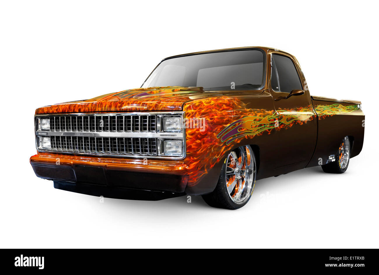 Hot Rod Chevrolet Scotsdale 1978 retro pickup truck with flame pattern painted on it Isolated on white background Stock Photo