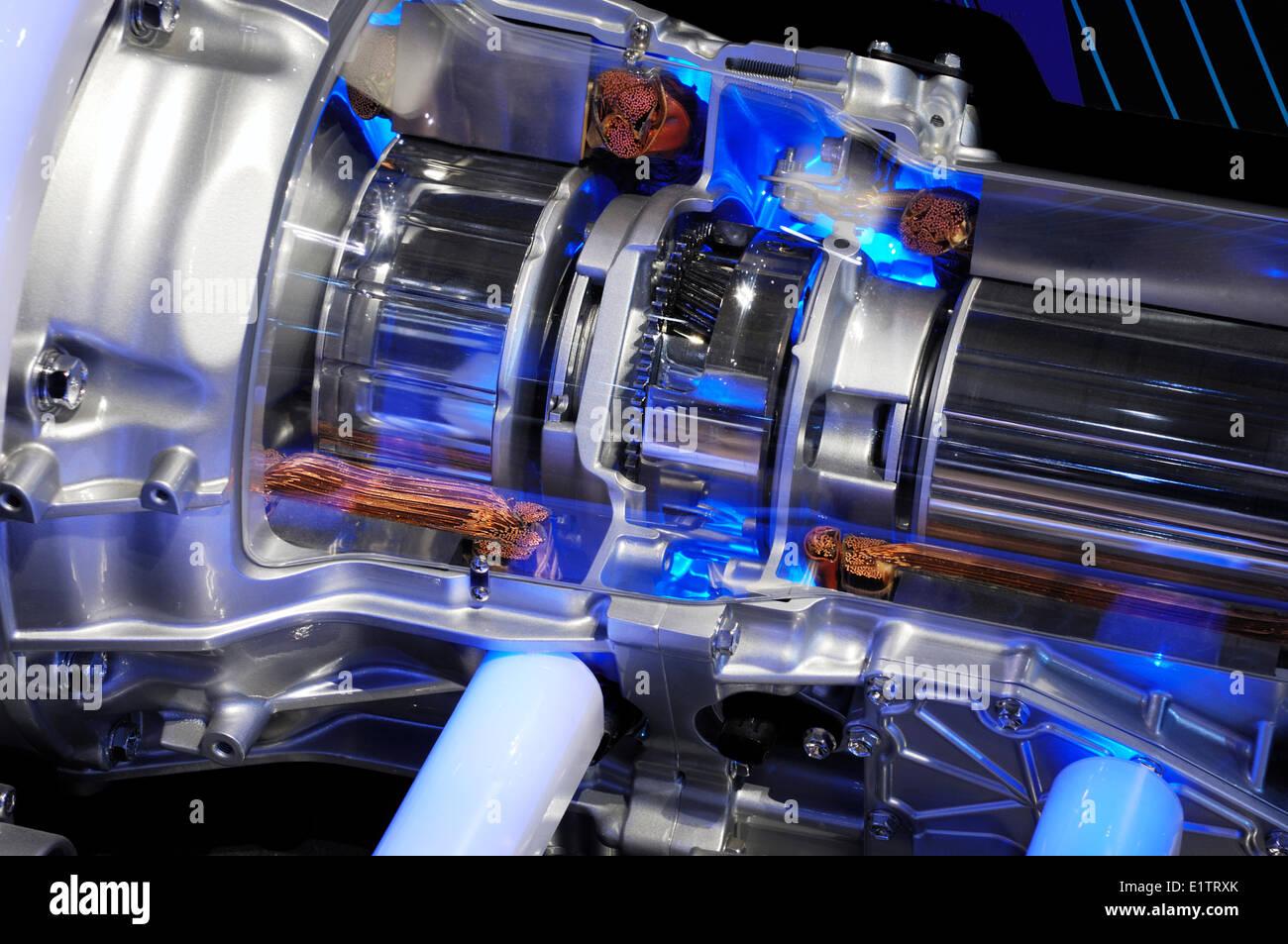 Detailed closeup of Lexus hybrid car electric motor - Stock Image