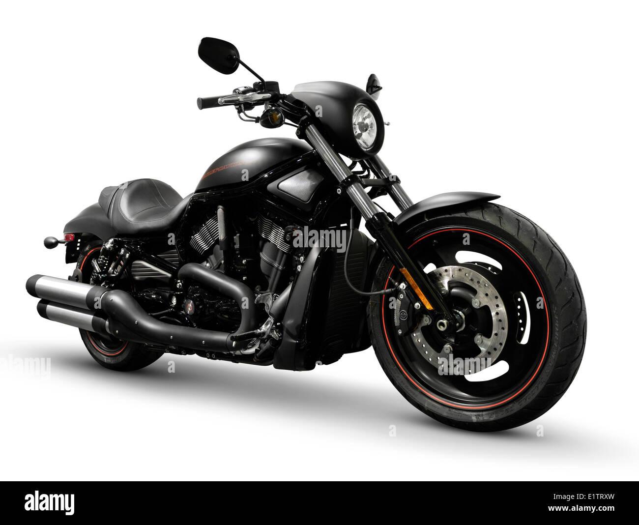 Black 2007 Harley Davidson VRSCD Night Rod Special motorcycle Isolated on white background - Stock Image